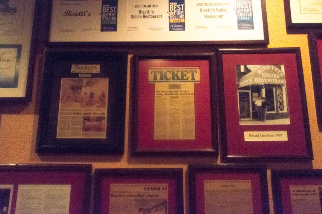 Bisetti's newspaper wall