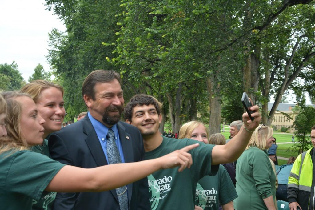 President Frank and Students at Fall Address 2014