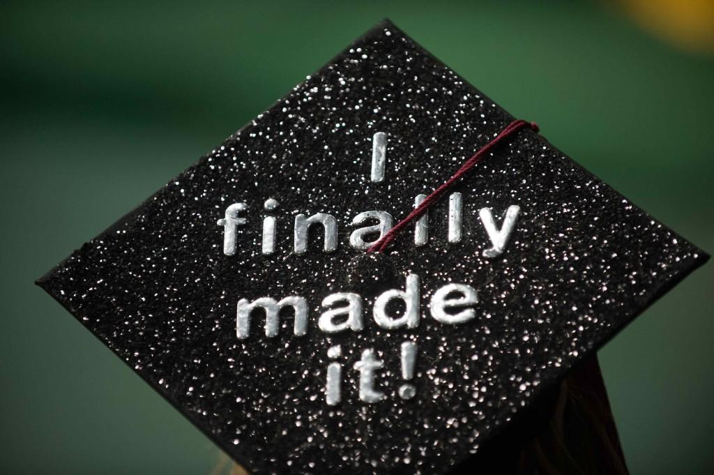"""""""I finally made it!"""" written on a CSU graduation cap"""