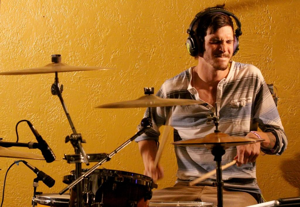 Drummer Tanner Boyle plays in old town