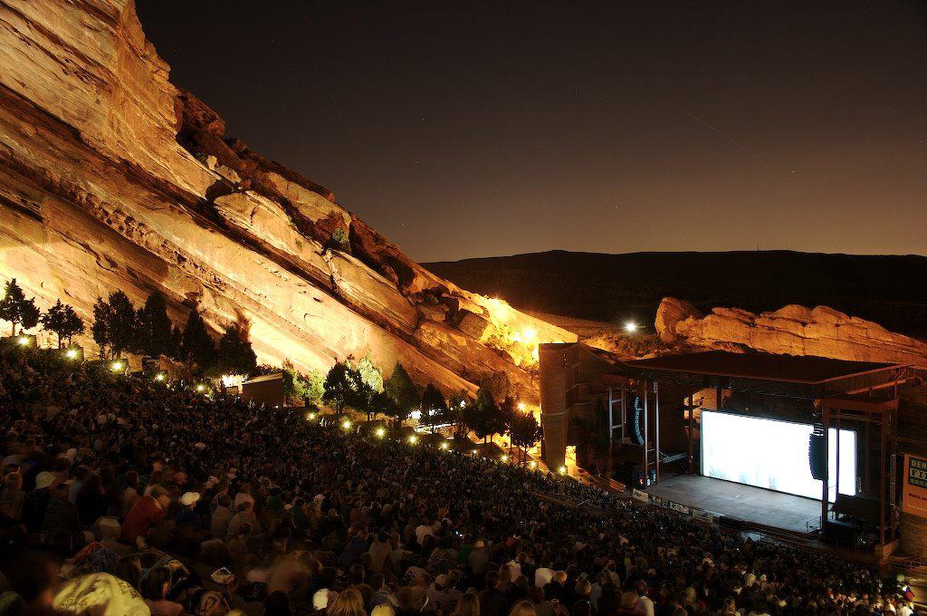 Red Rocks venue at night