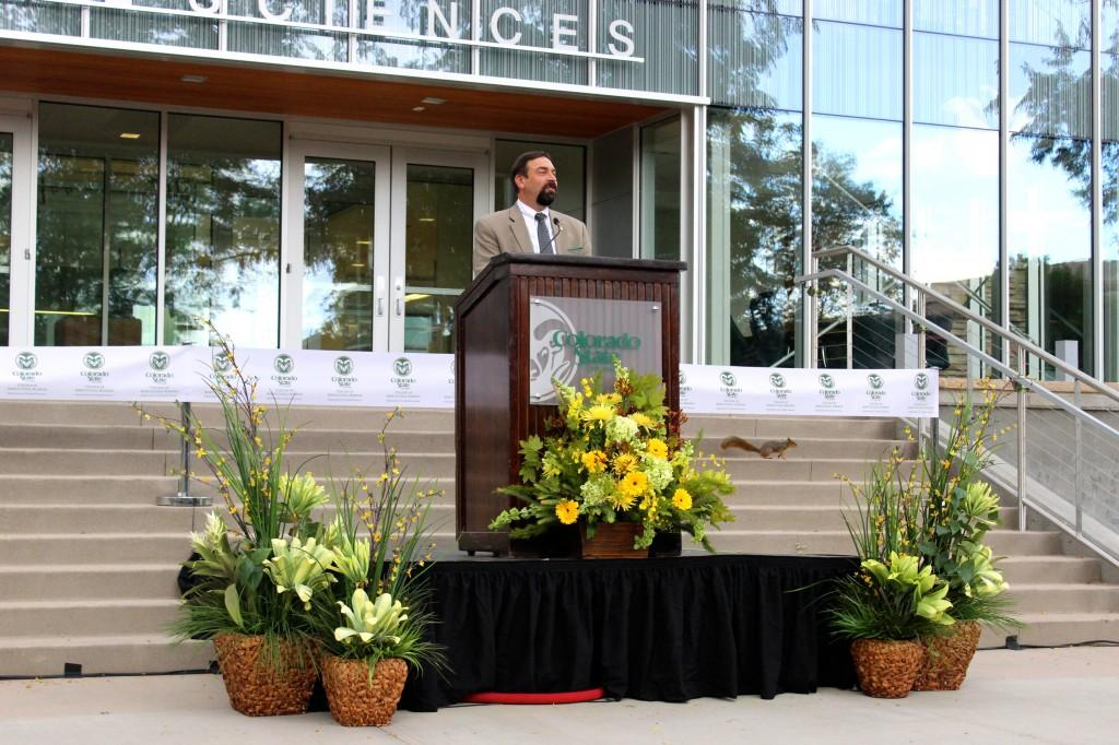Colorado State University President Tony Frank gives a speech at the newly renovated Animal Sciences Building