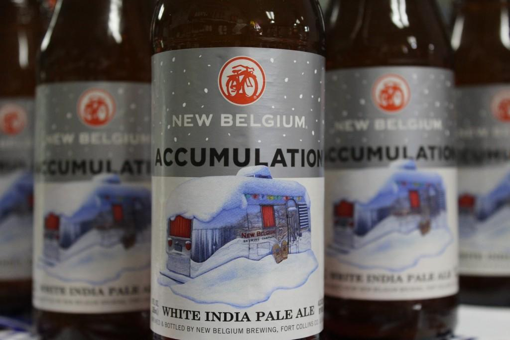 close up of New Belgium bottles of Accumulation White India Pale Ale