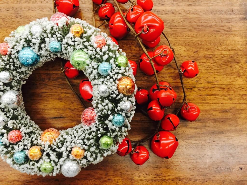 holiday Christmas wreath and bells