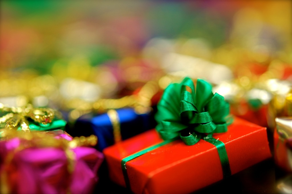 close up of wrapped gifts