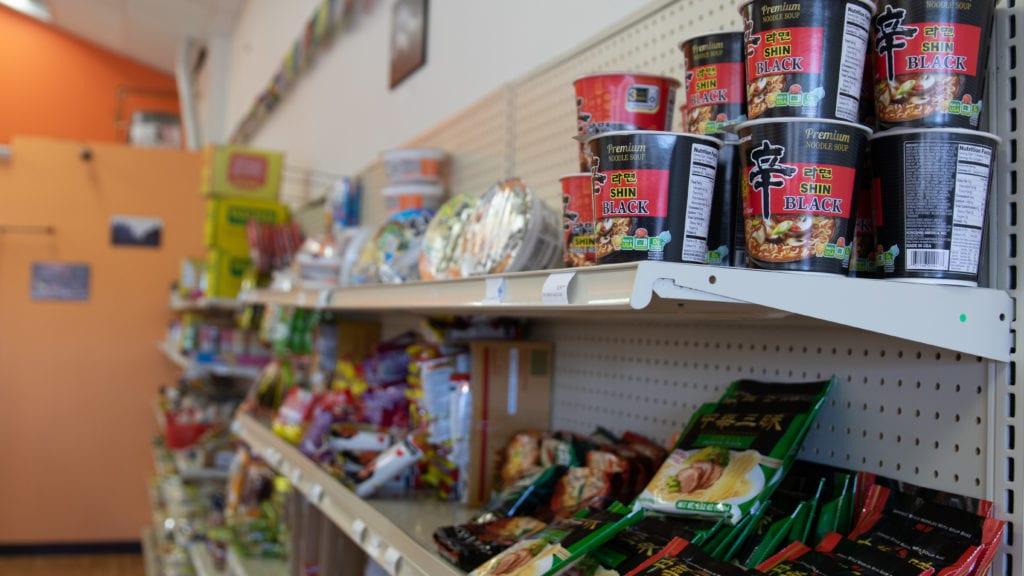 shelves of instant ramen