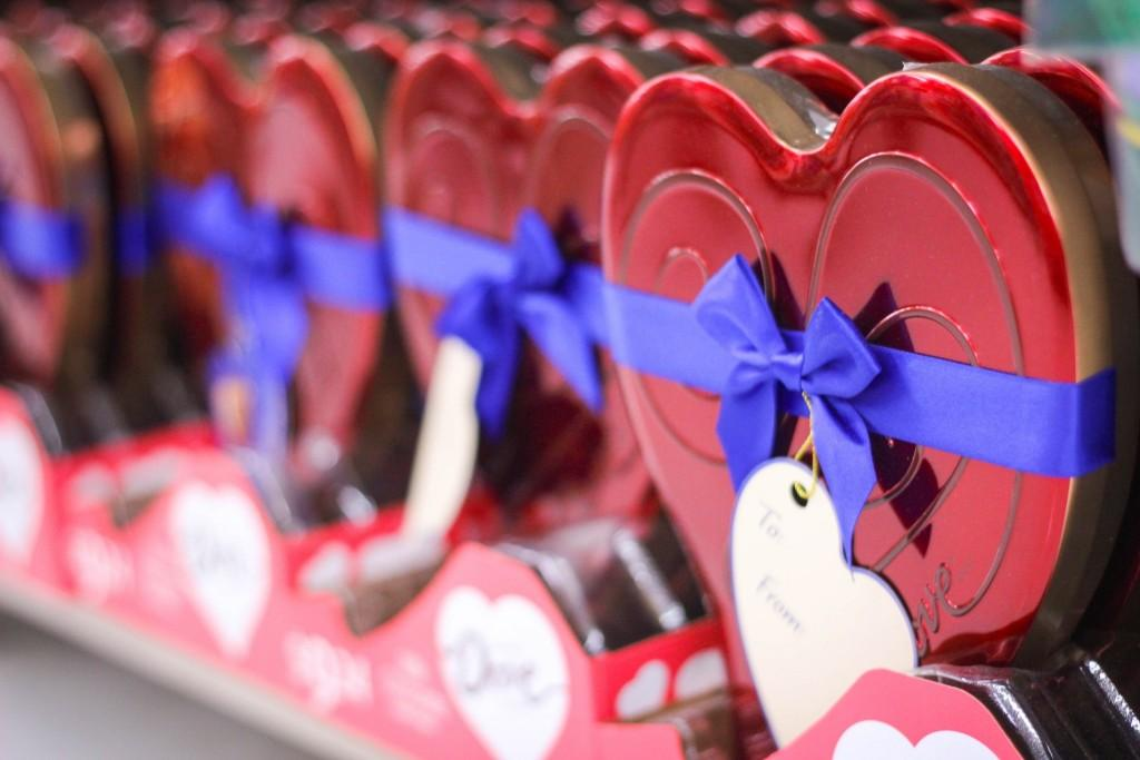 close up of rows of chocolate heart boxes