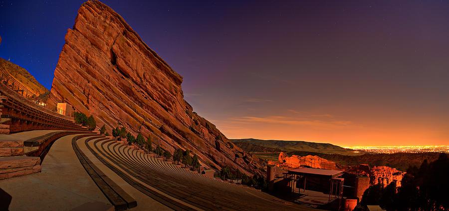 red rocks amphitheater at night