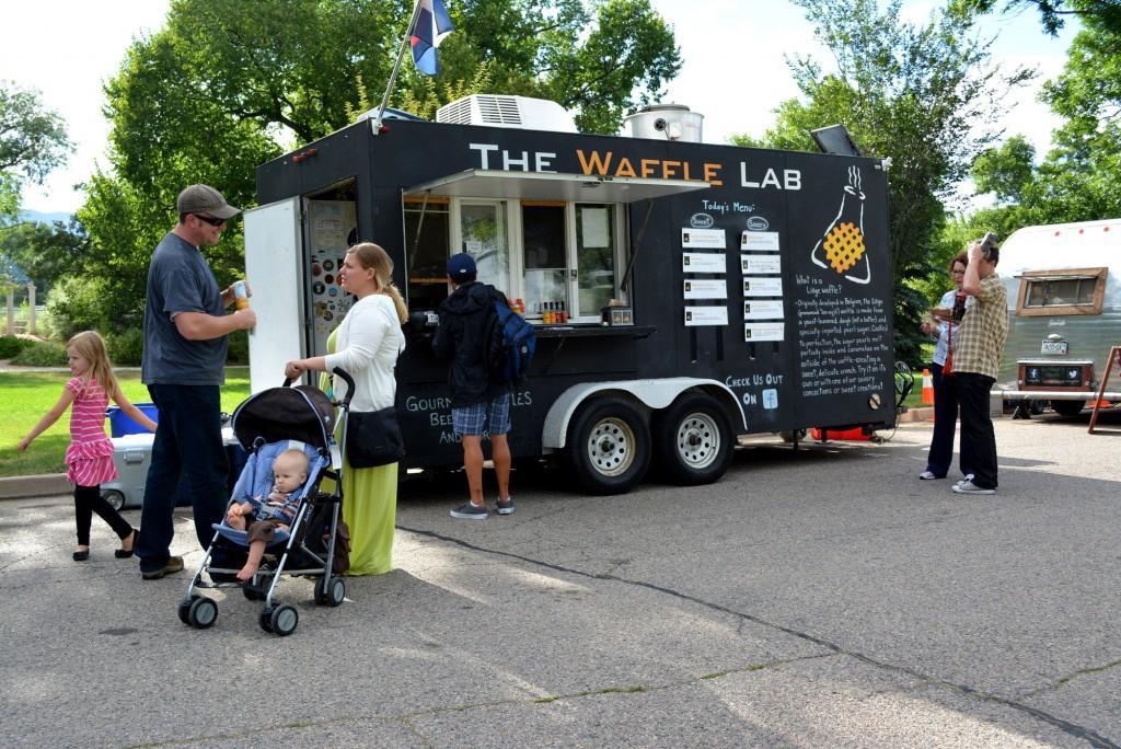 People gather around the Waffle Lab