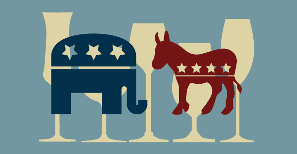 GOP and Democrat party logos staring at each other