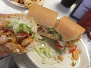 The economical and delicious fried shrimp po boy