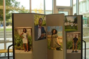 Photos of the contestants displayed in the LSC. Photo by Selena Rodriguez.