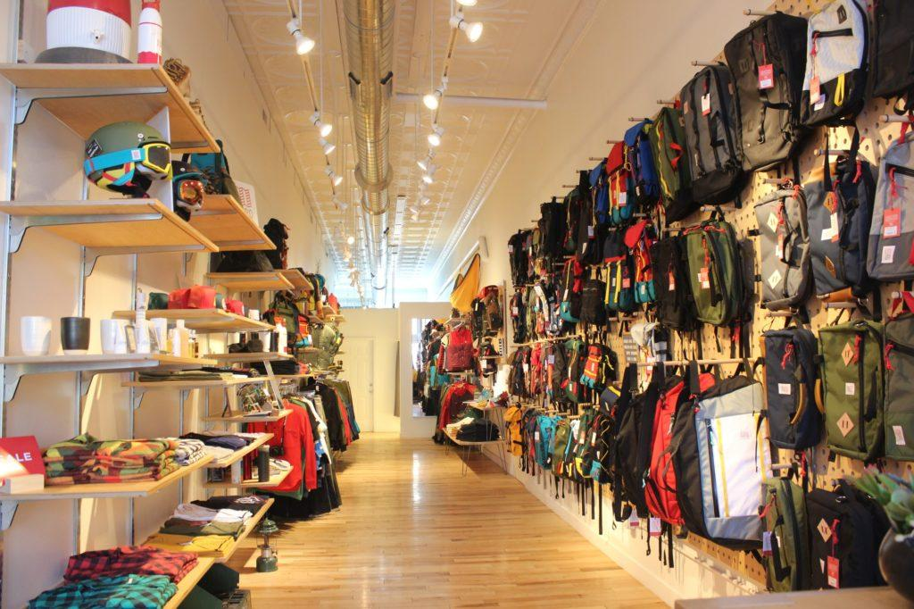 display of outdoor bags and backpacks