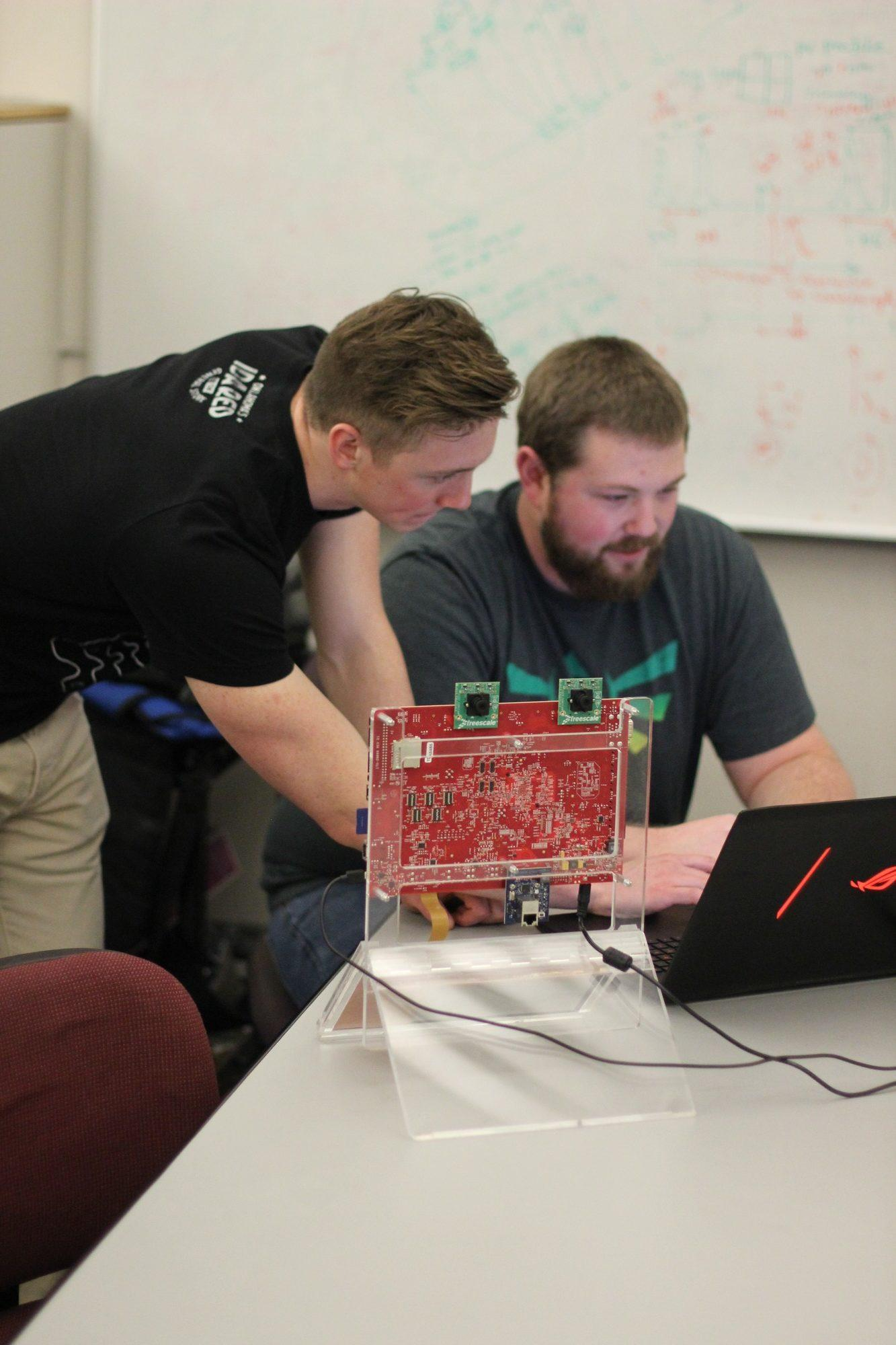 Derek Isabelle and Jordan Tunnell code software for the EcoCAR 3 competition.