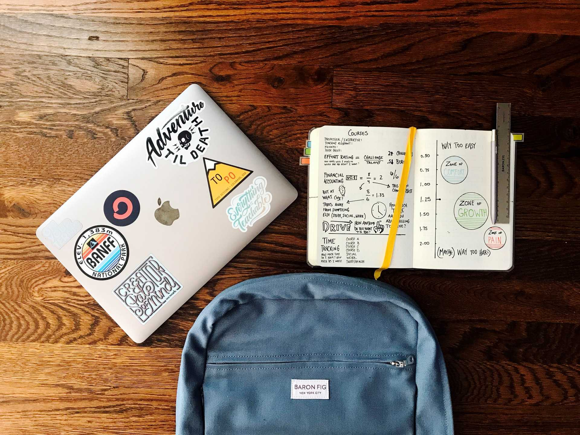 backpack, latptop, and open notebook from above