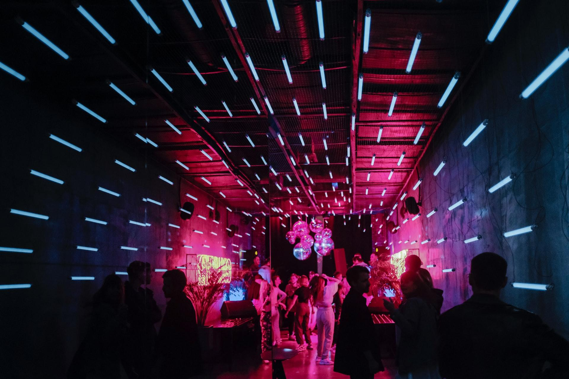 neon colored party room