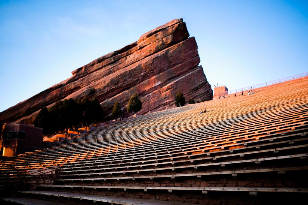Red Rocks amphitheater at sunset