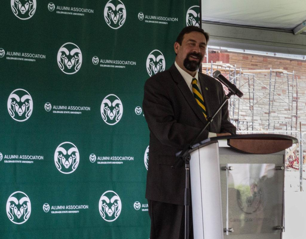 Tony Frank speaks at the revealing of the refurbished Old Main bell. (Ashley Potts | Collegian)