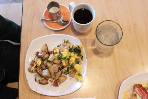 scramble at The Waffle Lab and cup of coffee