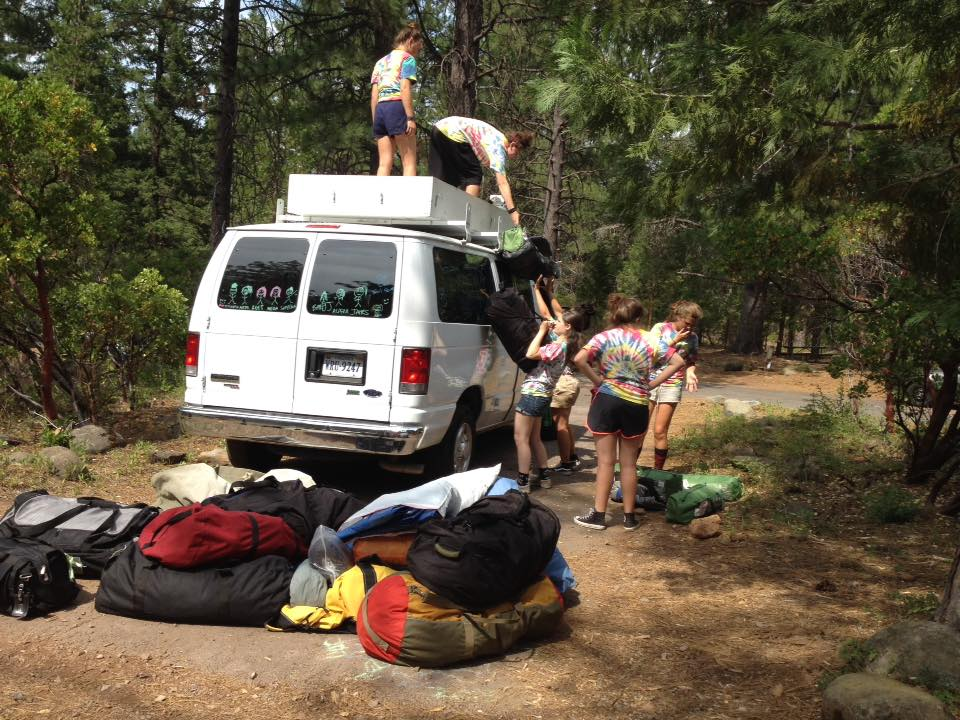 Girl Scout troop 60606 packing a van for their camping trip Photo credit: Katie Mitchell