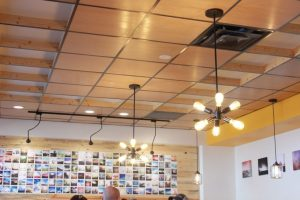 funky lights in Waffle Lab interior