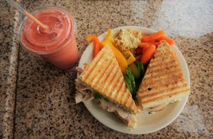 The Chaco sandwich and Strawberry Sunrise Smoothie