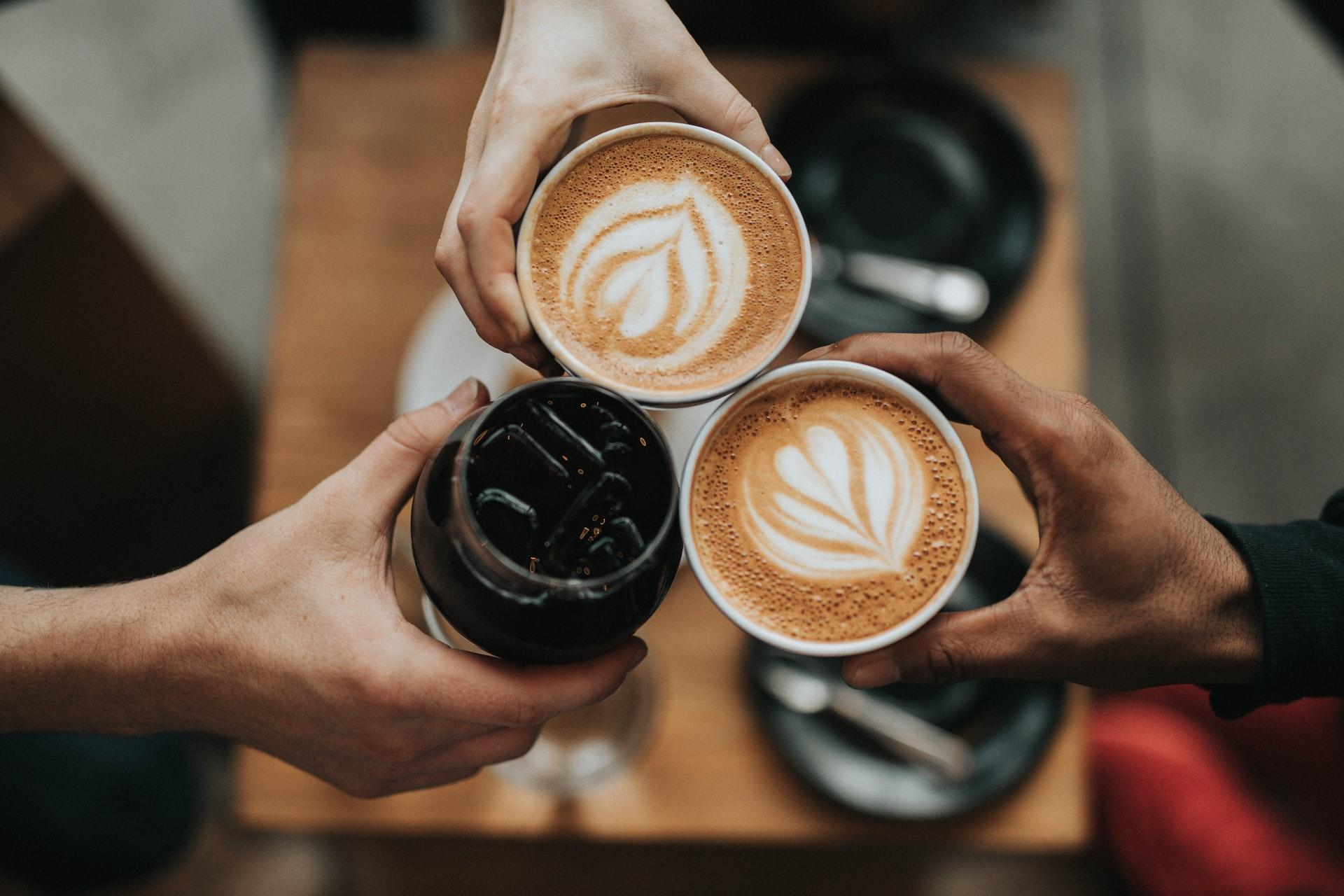 three cups of coffee from above