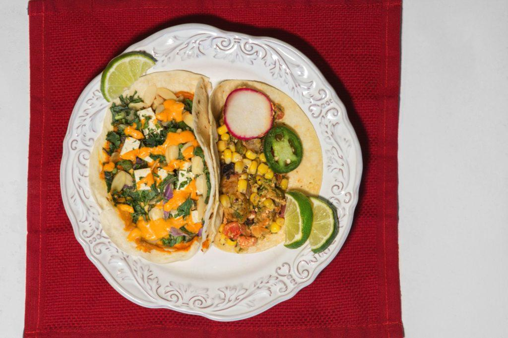 tacos open on a plate from above