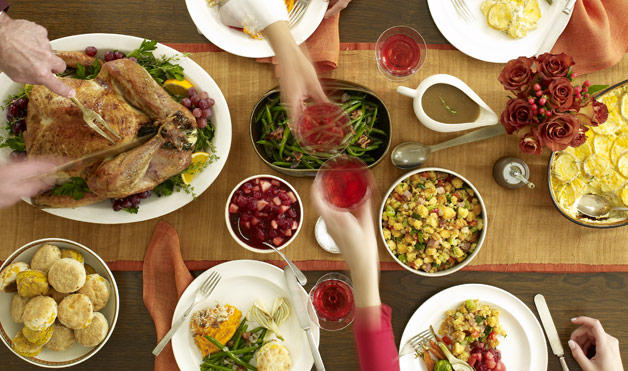 Thanksgiving dinner table and foods