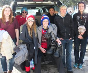 Students Sheridan Kelly, Joey Genovese, Callie Miller, Ben Genovese, Justin Pace, Nick Franson and Thomas Horton take a break from driving in bad traffic in Idaho Springs, Colo. on Jan. 29, 2017.