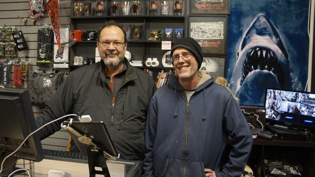 Owner Jeff Abbott (right) and business partner Scott Shepherd (left) standing in the front of The Gorehound's Playground.