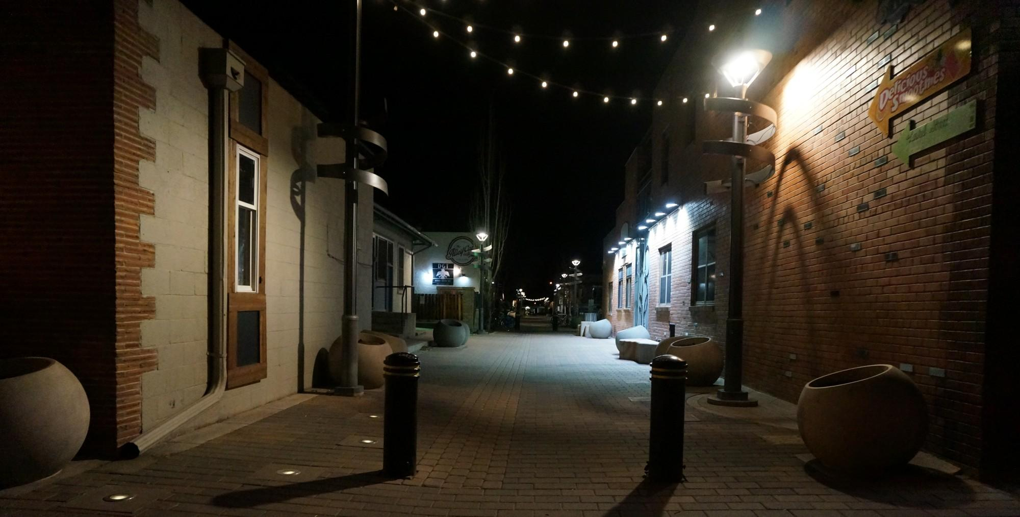 old town alley at night