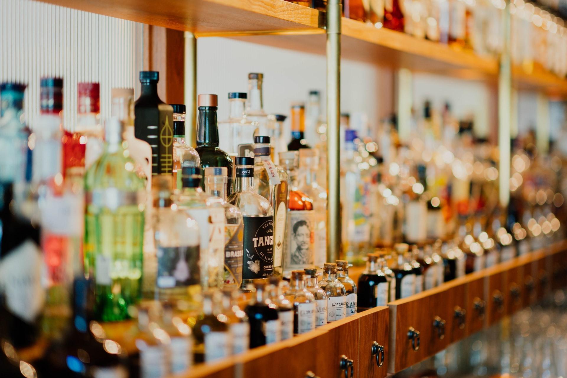 shelf filled with liquor bottles