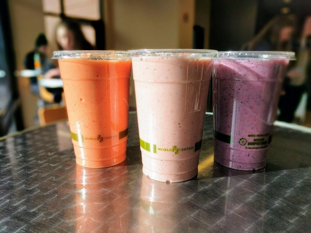 Smoothies in compostable cups.
