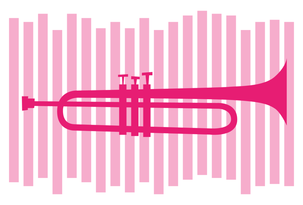 pink graphic of trumpet