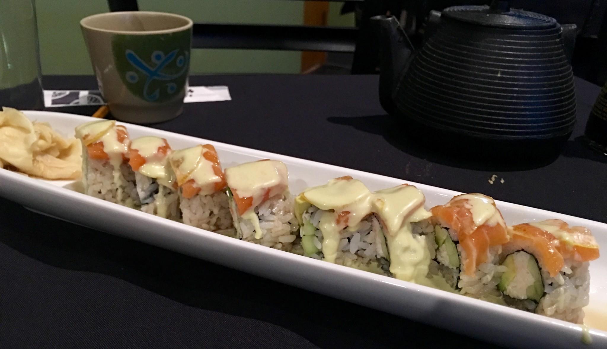 Eating Nemo roll at Wabi Sabi.