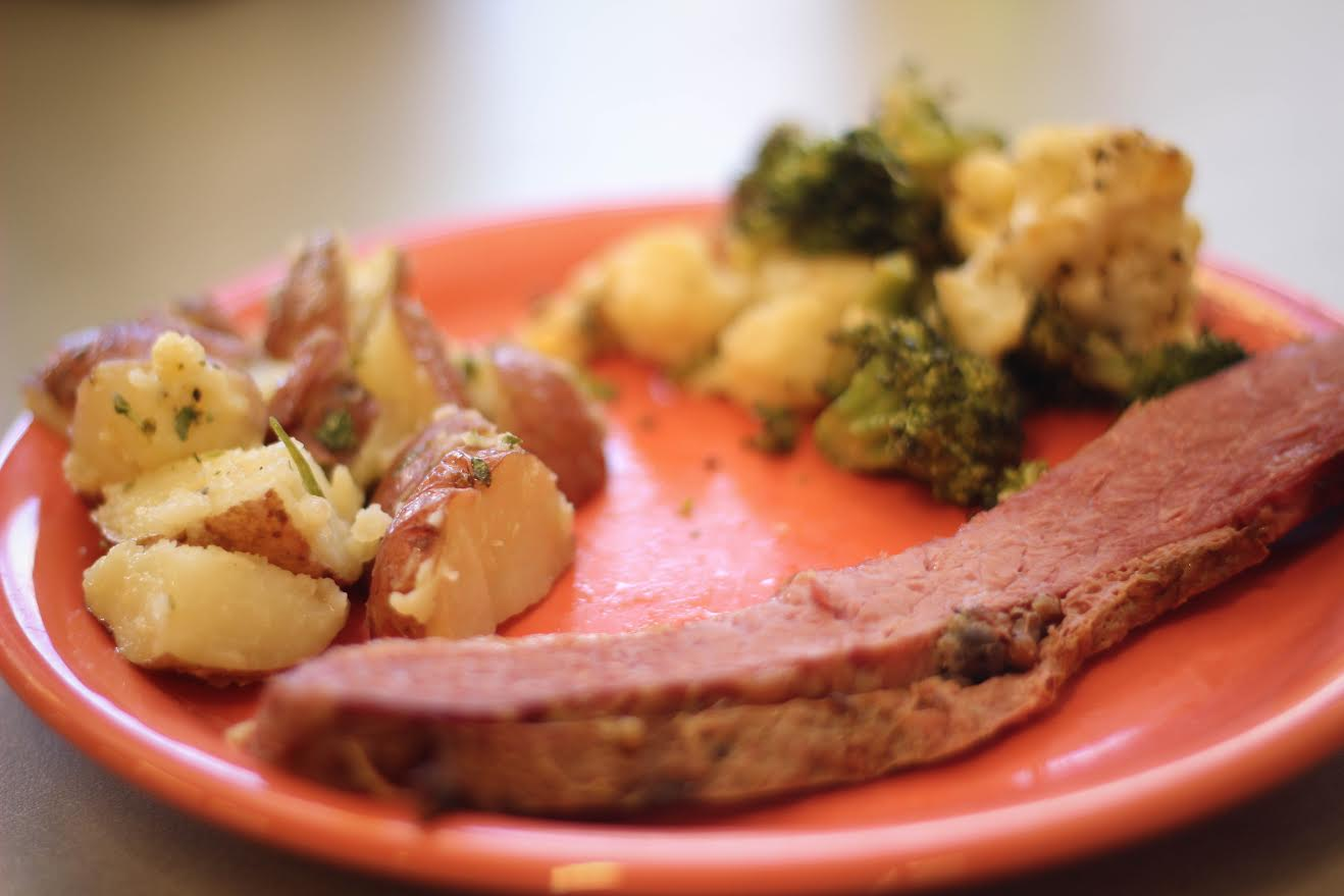 plate of food with meat, potatoes, and vegetables