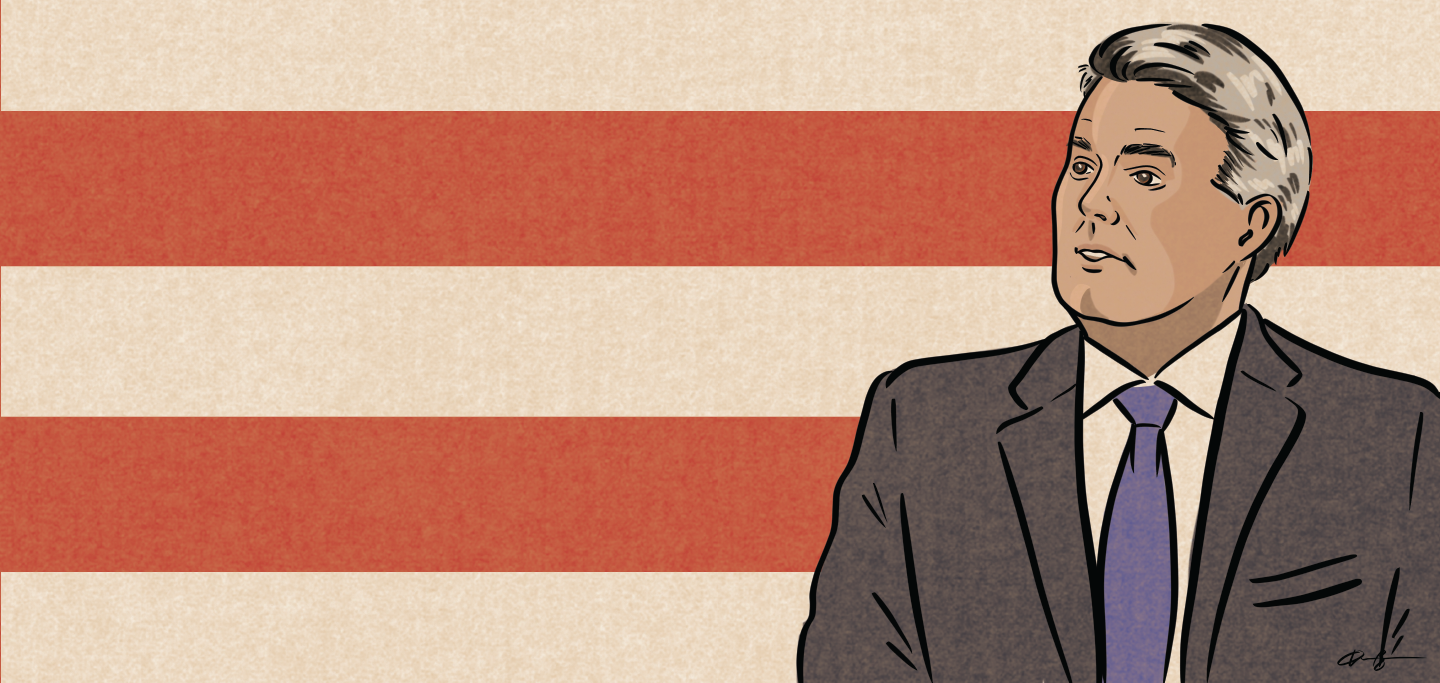 Illustration of Cory Gardner on background of red and white stripes