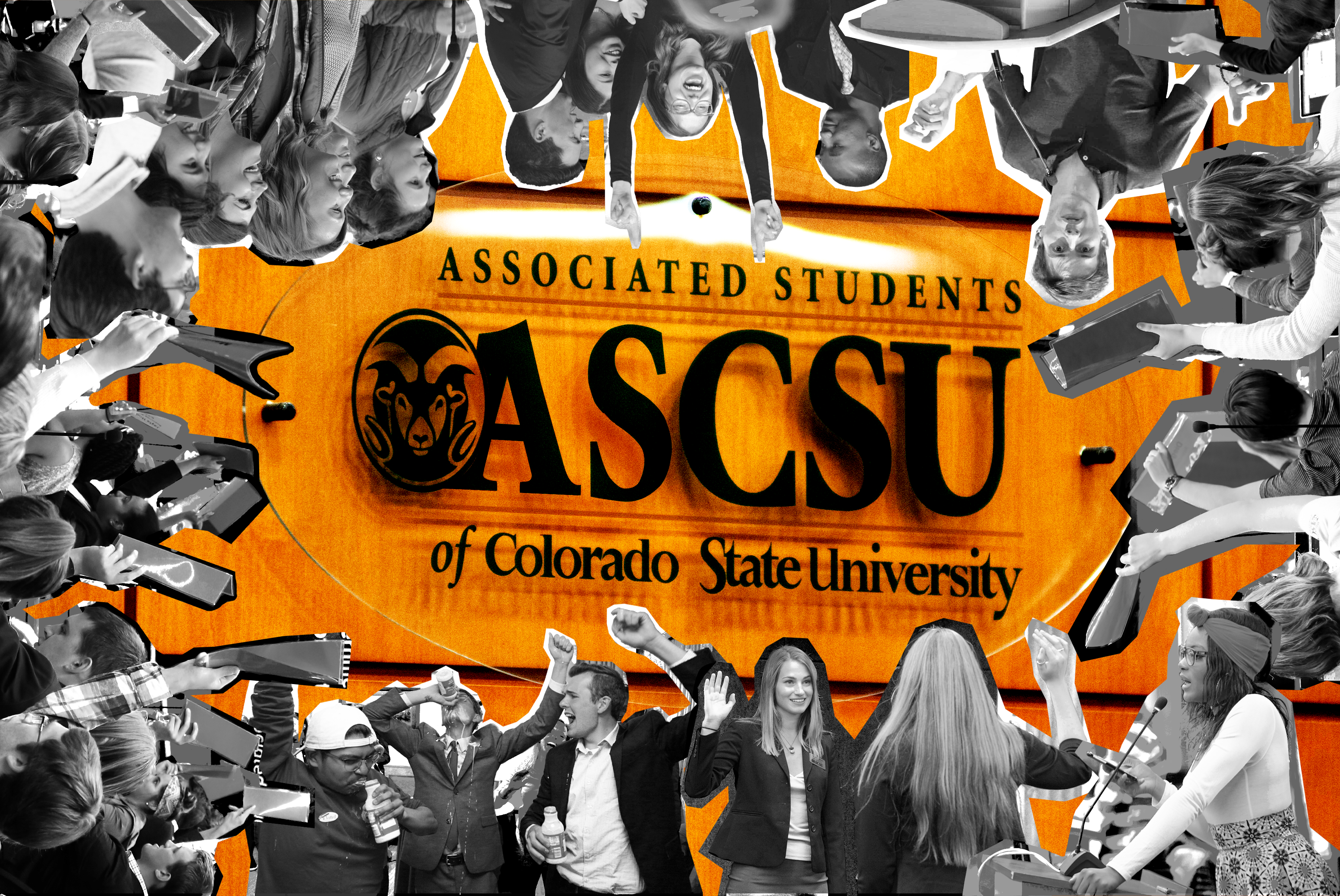 Photo collage of ASCSU members doing various activities laid over the ASCSU Senate sign