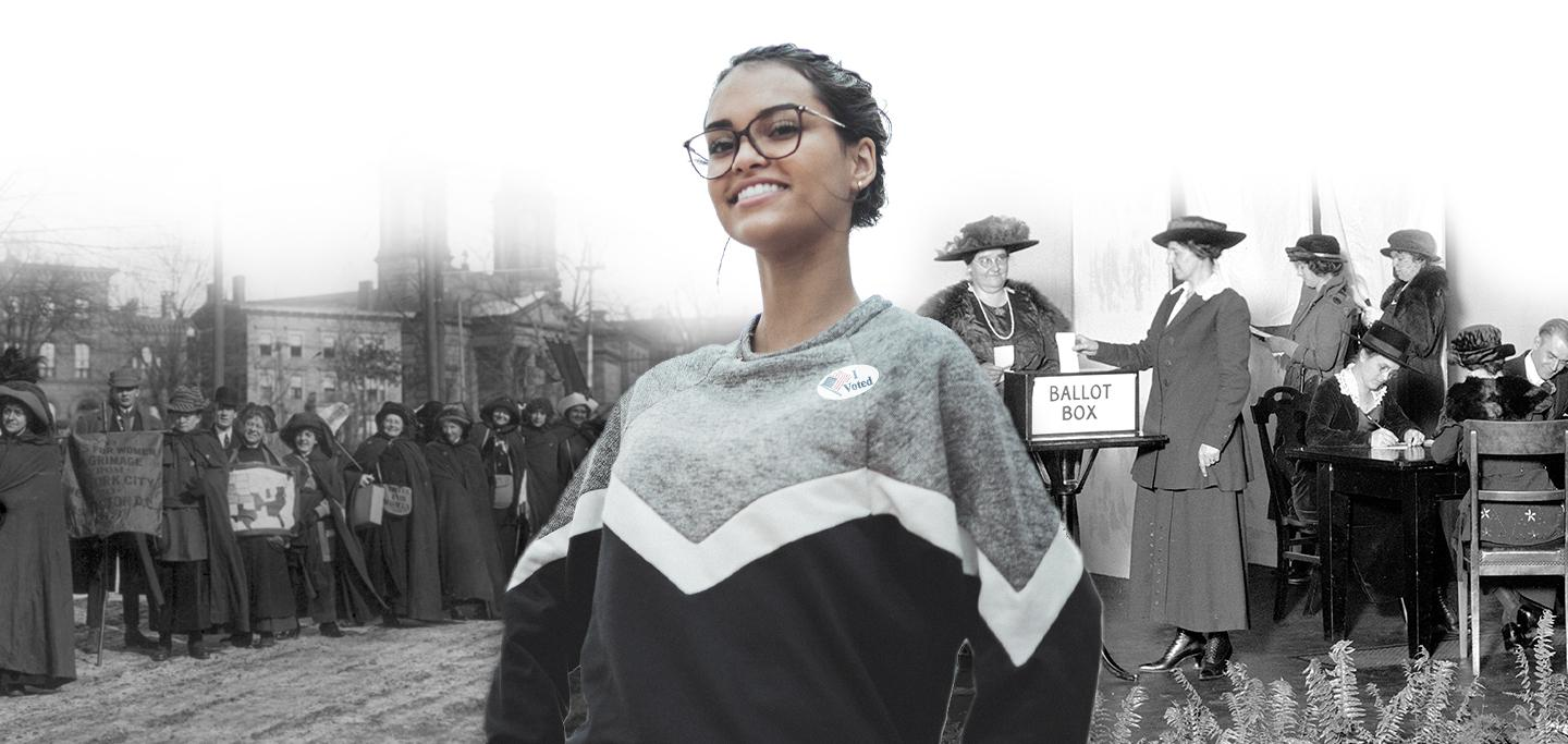 "Photo illustration of modern Latina woman with an ""I Voted"" sticker imposed in front of historical suffragette photos"
