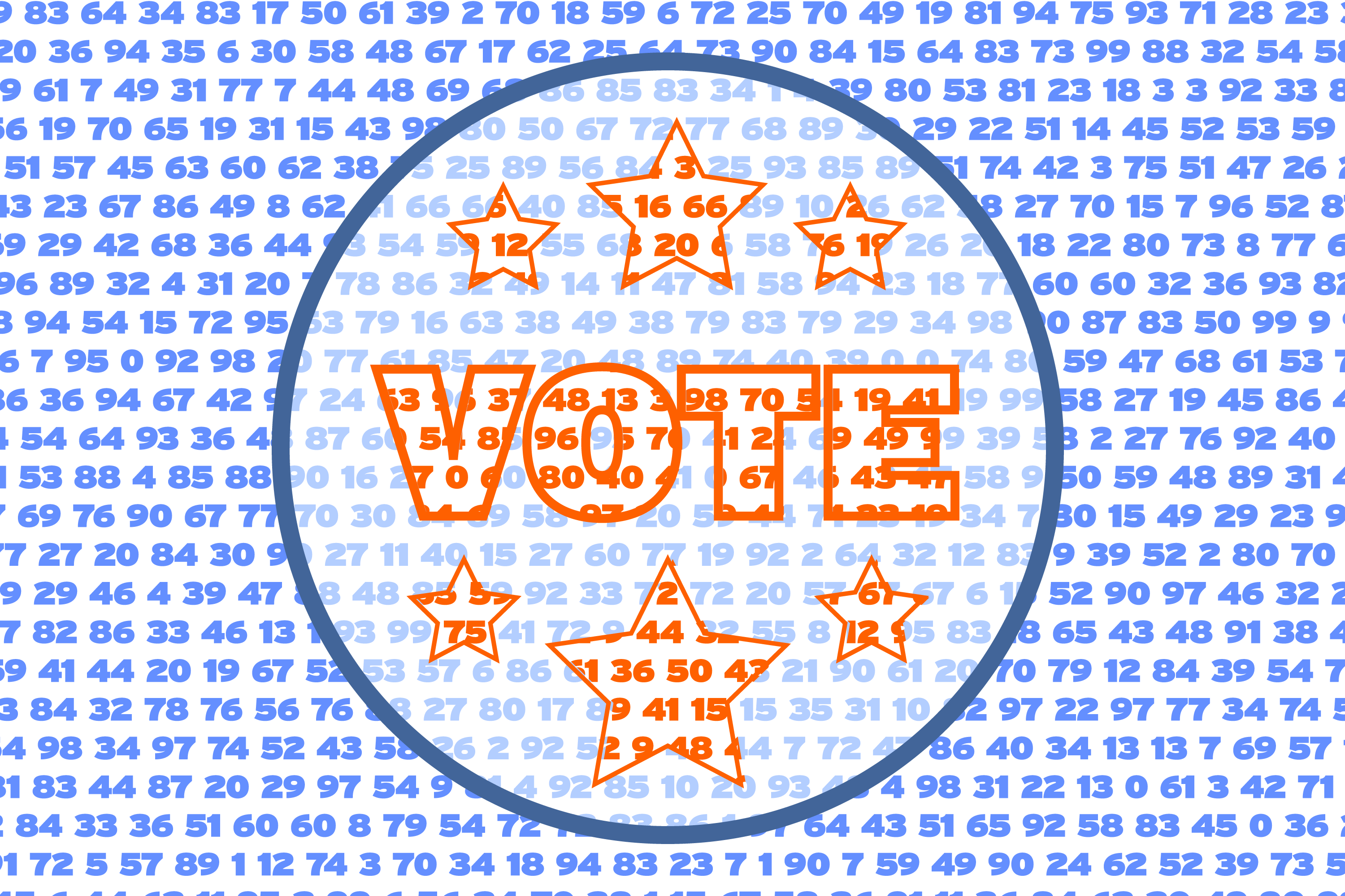 Random numbers cover a circle with the word VOTE in the center