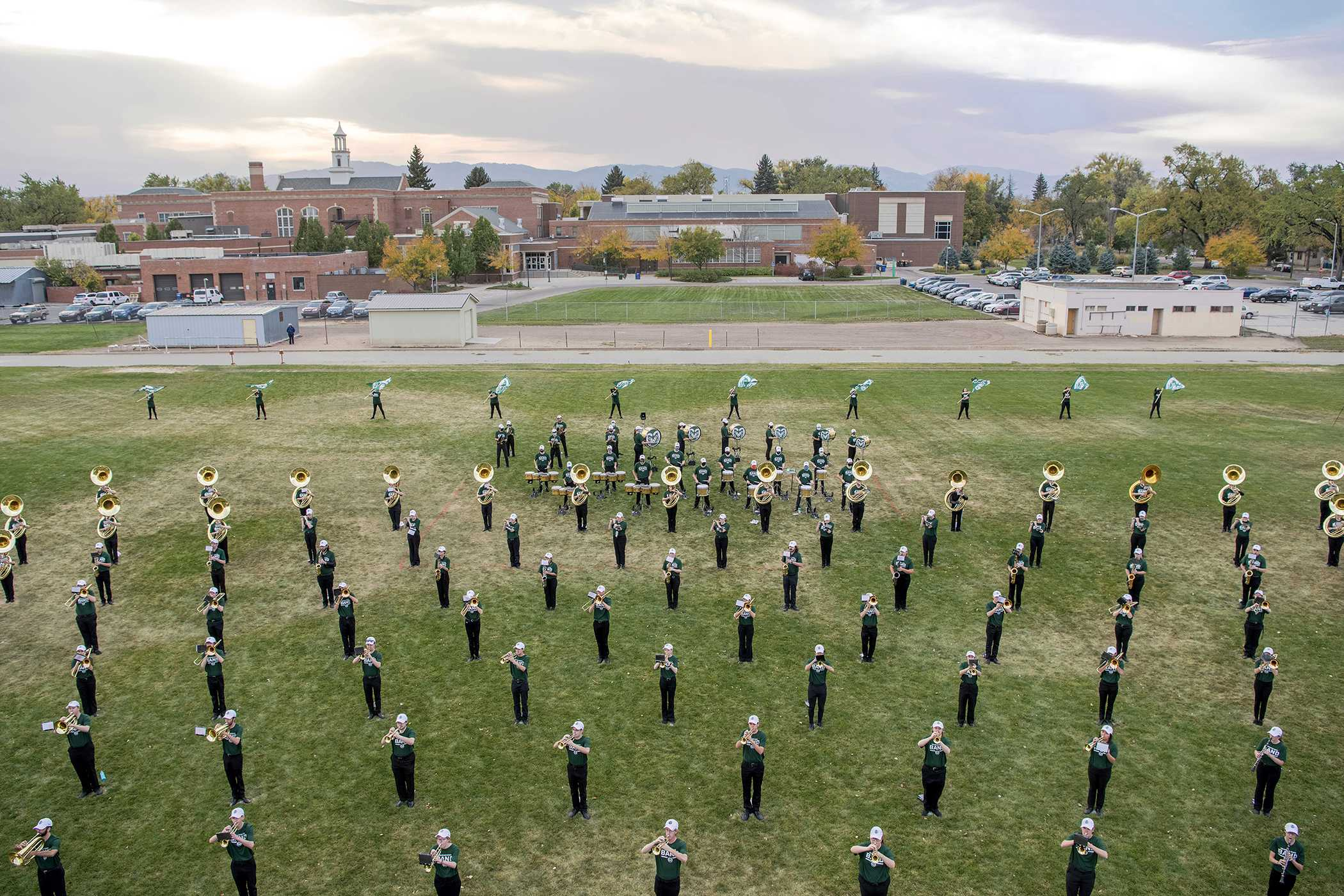 Bird's eye view of the CSU Marching Band during socially distanced rehearsal