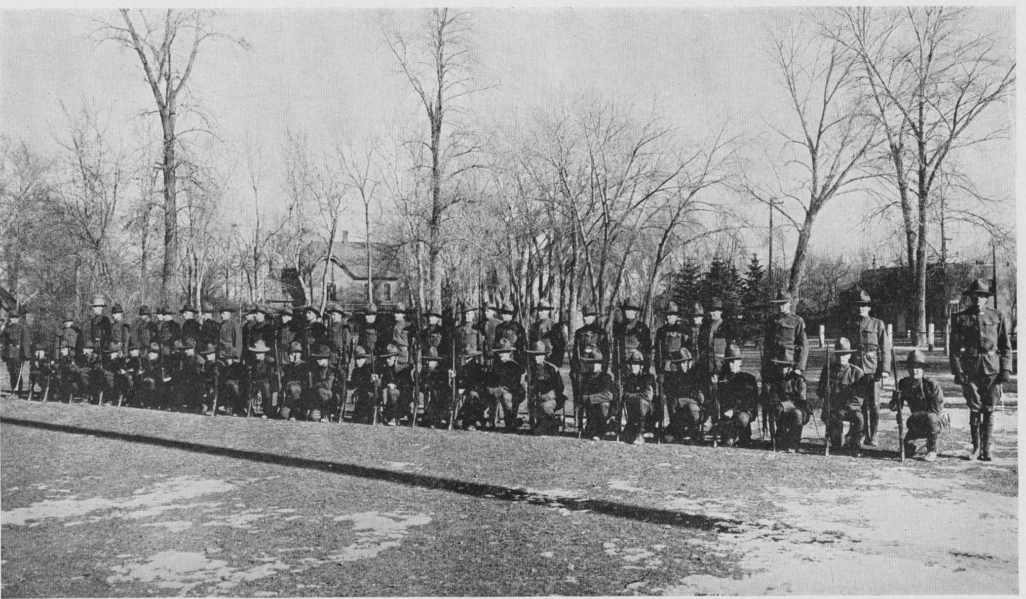 csu historical photo of the military lined up with face masks