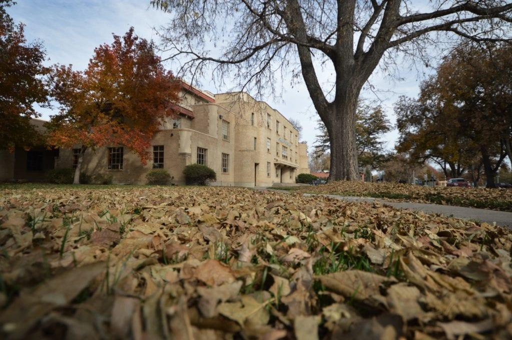 Student Services building in fallen leaves