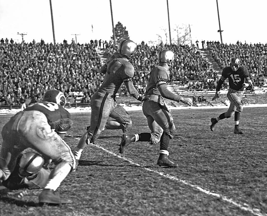 Colorado State University football plays against University of Colorado Boulder in archival image