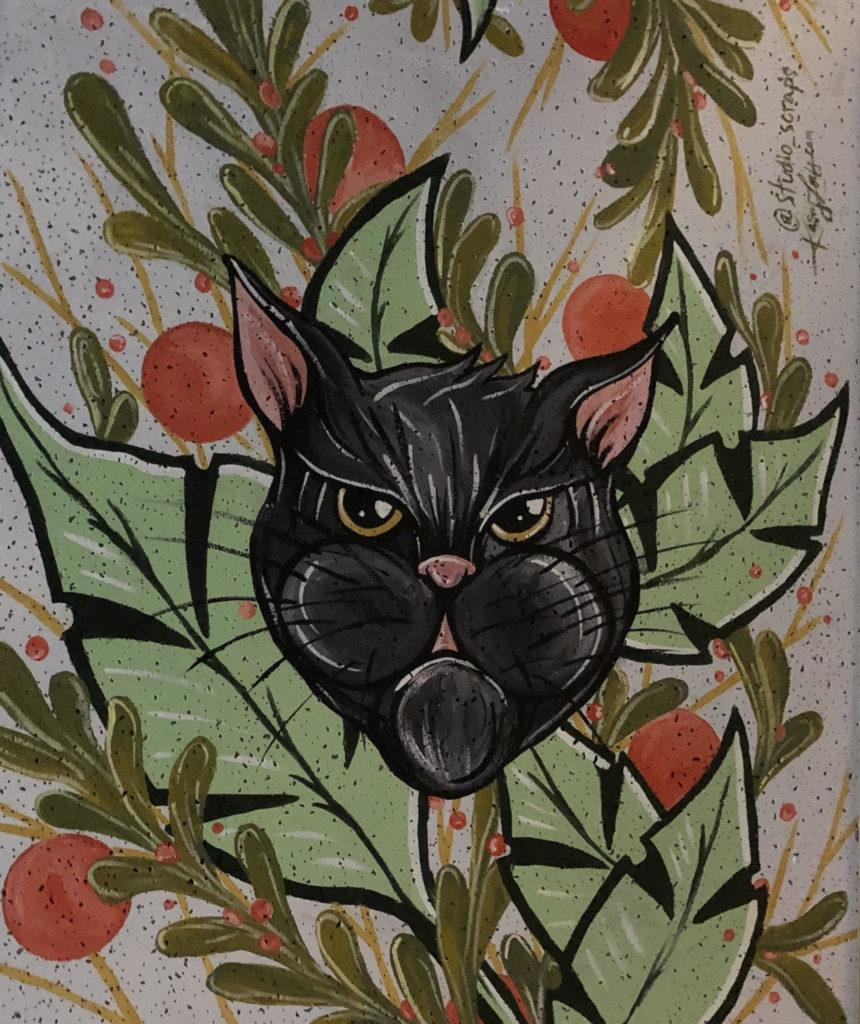 Painting of black cat surrounded by green foliage and red berries