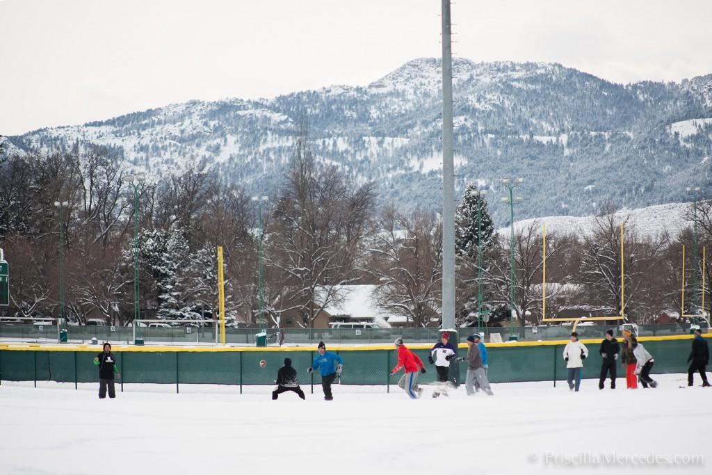 CSU students playing football in the snow