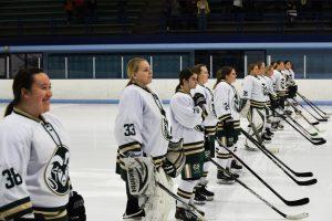 CSU Women's Ice Hockey Team lined up on the ice
