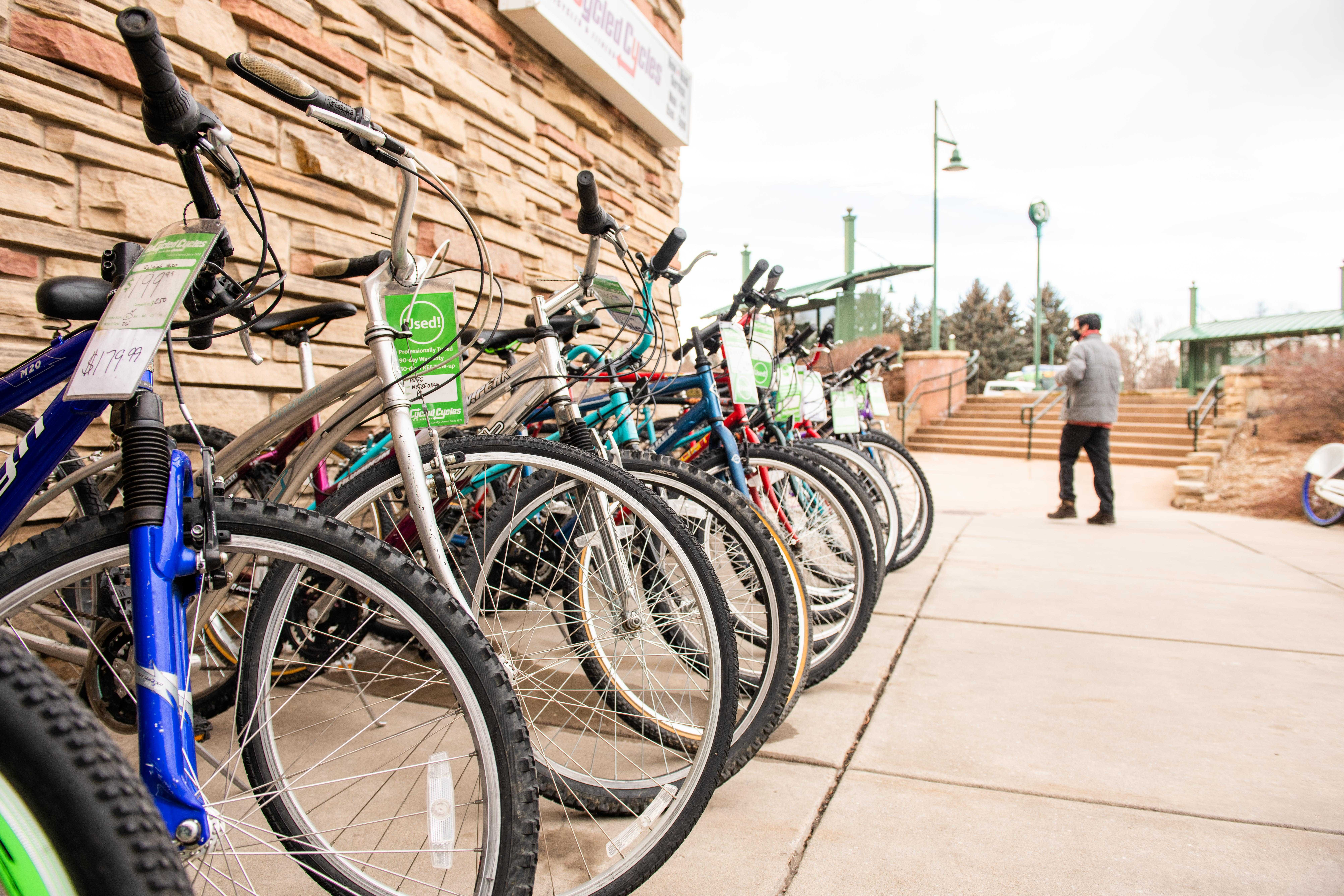 bikes lined up outside Recycled Cycles by Lory Student Center