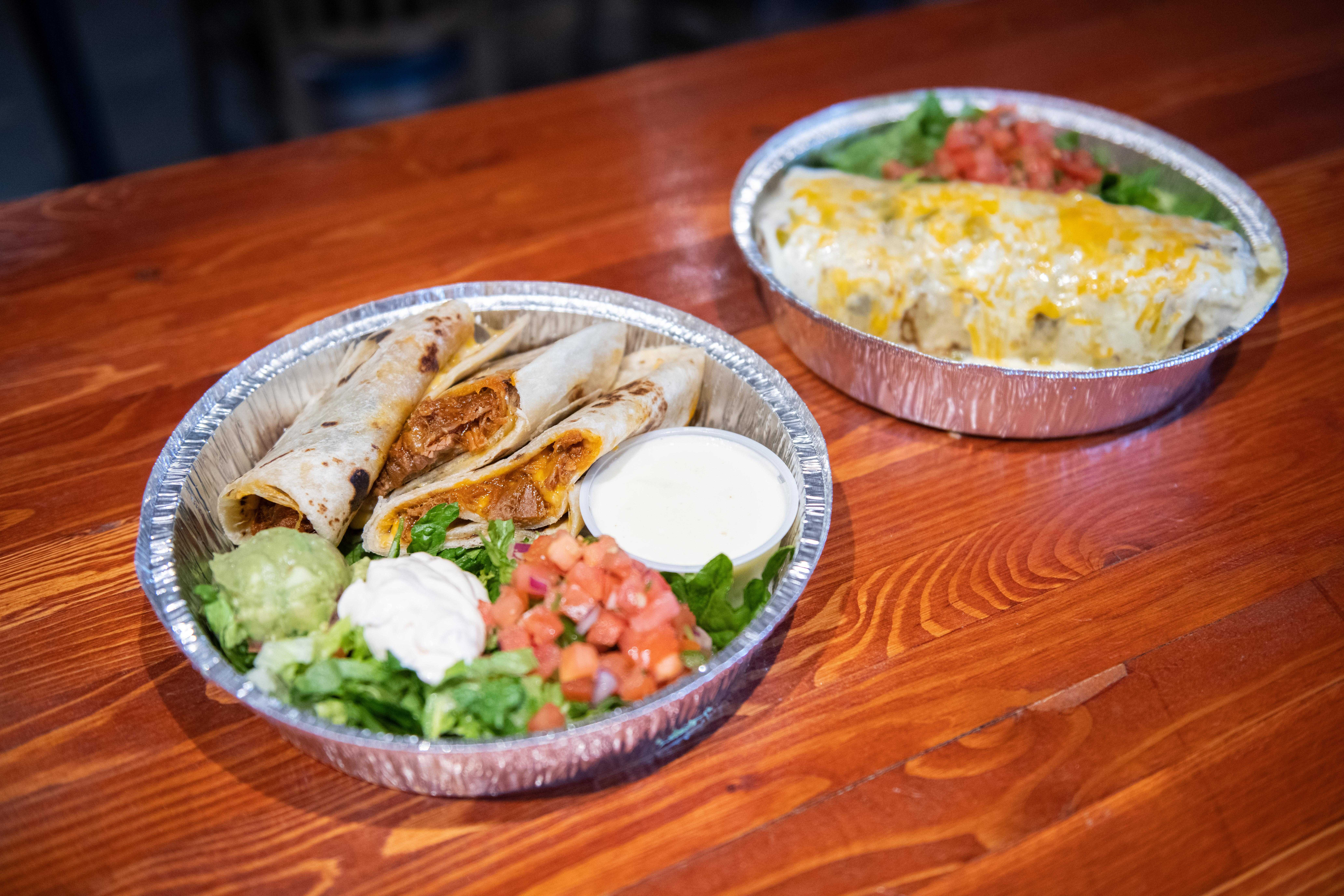 burrito and enchilada takeout from Cafe Mexicali